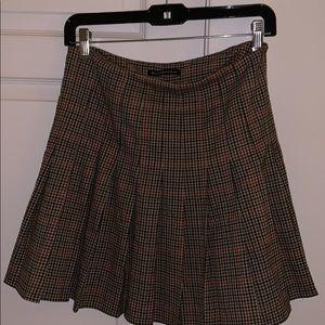 Plaid fall pleated skirt